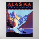 Poster del viaje del vintage, Atlin y el Yukón, Al