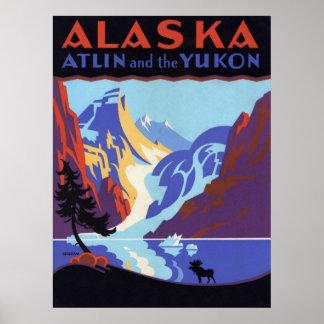 Poster del viaje del vintage Atlin y el Yukón Al