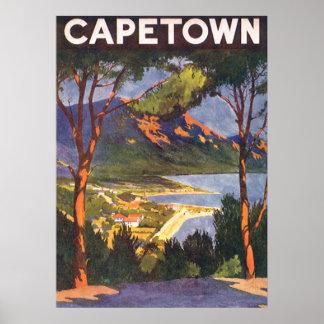 Poster del viaje del vintage, Cape Town, Suráfrica Póster