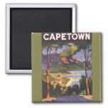 Poster del viaje del vintage, Cape Town, Suráfrica Iman Para Frigorífico