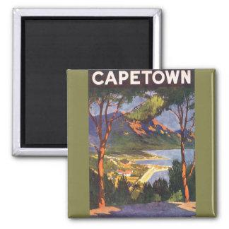 Poster del viaje del vintage Cape Town Suráfrica Iman Para Frigorífico