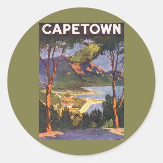 Poster del viaje del vintage, Cape Town, Suráfrica Pegatina Redonda