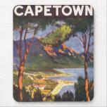 Poster del viaje del vintage, Cape Town, Suráfrica Alfombrilla De Ratones