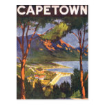 Poster del viaje del vintage, Cape Town, Suráfrica Tarjeta Postal