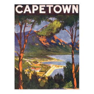 Poster del viaje del vintage, Cape Town, Suráfrica Postal