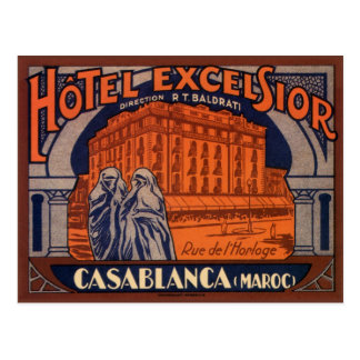 Poster del viaje del vintage Casablanca Marrueco Tarjeta Postal