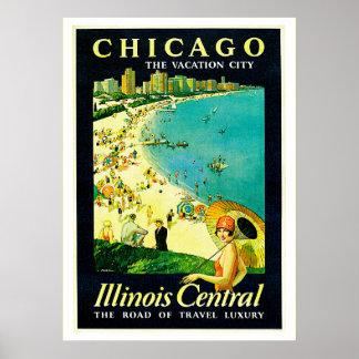 Poster del viaje del vintage, Chicago, Illinois