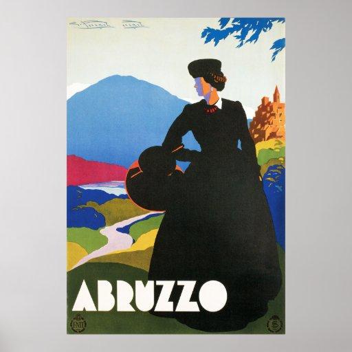 Poster del viaje del vintage de Abruzos