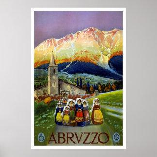 """Poster del viaje del vintage de """"Abruzos, Italia"""""""