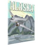 Poster del viaje del vintage de Alaska Impresión En Lienzo Estirada