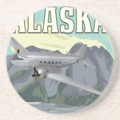 Poster del viaje del vintage de Alaska Posavasos Cerveza