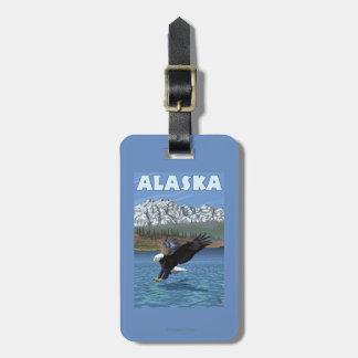 Poster del viaje del vintage de AlaskaBald Eagle Etiquetas Maleta