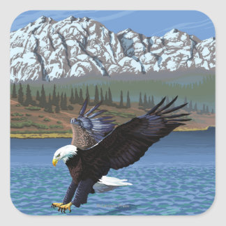 Poster del viaje del vintage de AlaskaBald Eagle Colcomania Cuadrada