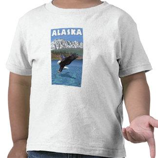 Poster del viaje del vintage de AlaskaBald Eagle Camiseta