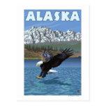 Poster del viaje del vintage de AlaskaBald Eagle Postal