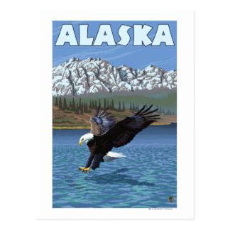 Poster del viaje del vintage de AlaskaBald Eagle Tarjetas Postales