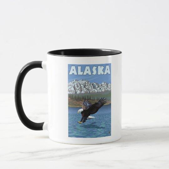 Poster del viaje del vintage de AlaskaBald Eagle Taza
