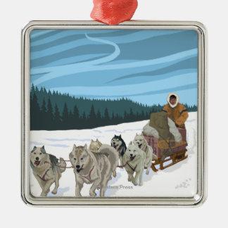 Poster del viaje del vintage de AlaskaDogsledding Adorno De Navidad
