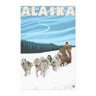 Poster del viaje del vintage de AlaskaDogsledding Lienzo Envuelto Para Galerías