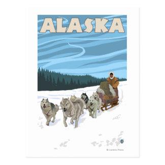 Poster del viaje del vintage de AlaskaDogsledding Postales