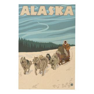 Poster del viaje del vintage de AlaskaDogsledding Cuadros De Madera