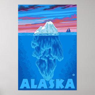 Poster del viaje del vintage de AlaskaIceberg