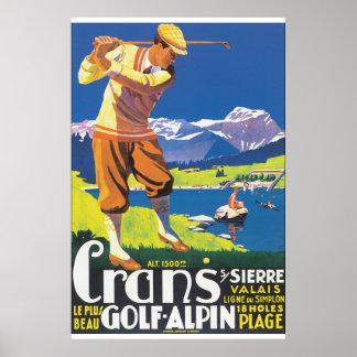 Poster del viaje del vintage de Alpin del golf