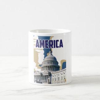Poster del viaje del vintage de América Taza Clásica