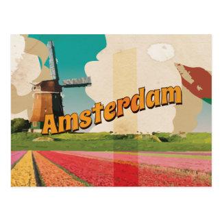 Poster del viaje del vintage de Amsterdam Postal