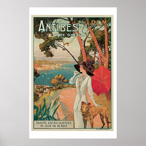 Poster del viaje del vintage de Antibes Cote D Azu