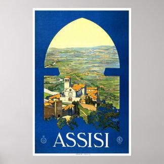 """Poster del viaje del vintage de """"Assisi"""""""
