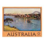 Poster del viaje del vintage de Australia del puer Tarjeta Postal