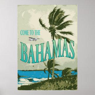Poster del viaje del vintage de Bahamas