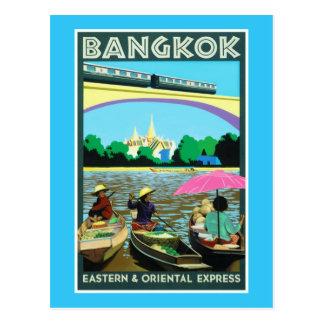 Poster del viaje del vintage de Bangkok Tailandia  Tarjeta Postal