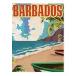 Poster del viaje del vintage de Barbados Postal