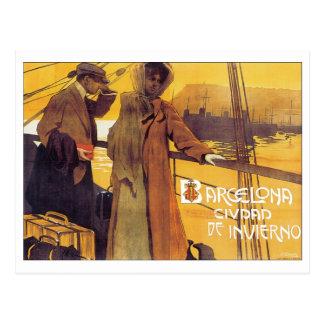 Poster del viaje del vintage de Barcelona Postales
