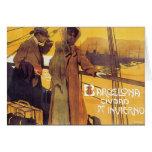 Poster del viaje del vintage de Barcelona Felicitacion