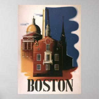 Poster del viaje del vintage de Boston, Massachuse
