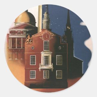 Poster del viaje del vintage de Boston Massachuse Etiqueta Redonda
