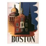 Poster del viaje del vintage de Boston, Postal