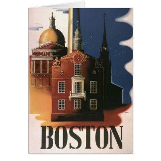 Poster del viaje del vintage de Boston, Tarjeta De Felicitación