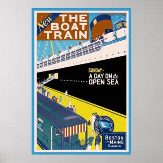 """Poster del viaje del vintage de """"Boston y de Maine"""