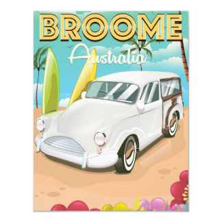 """Poster del viaje del vintage de Broome Australia Invitación 4.25"""" X 5.5"""""""