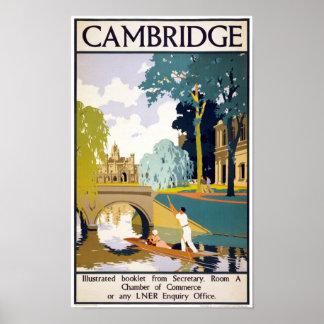 Poster del viaje del vintage de Cambridge Póster