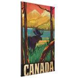Poster del viaje del vintage de Canadá Lienzo Envuelto Para Galerías