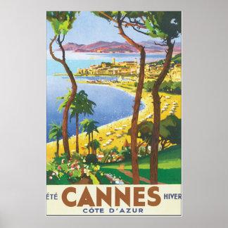 Poster del viaje del vintage de Cannes Cote d'Azur Póster