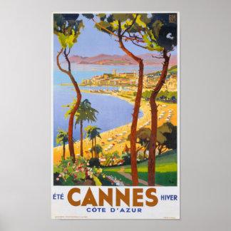 Poster del viaje del vintage de Cannes Póster