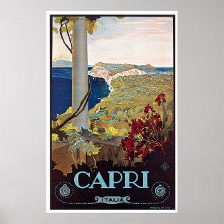 Poster del viaje del vintage de Capri, Italia