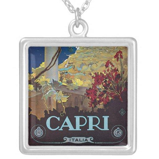 Poster del viaje del vintage de Capri, Italia Colgante Cuadrado