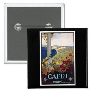 Poster del viaje del vintage de Capri, Italia Pins